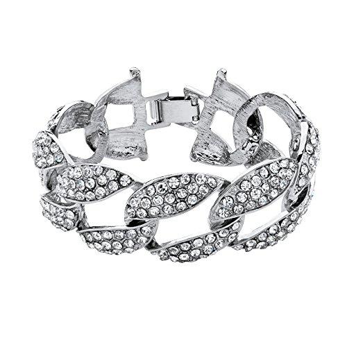 Bold Curb Link Bracelet - Silver Tone Curb-Link Bracelet (30mm), Round Crystal, 8