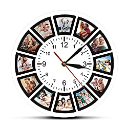 The Geeky Days Create Your Own Custom 12 Photos Collage Instagram Custom Home Wall Clock Personalized Family Photos Printed Clock Wall Watch
