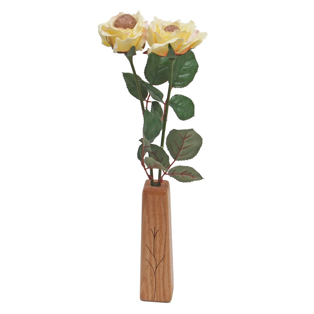 2-Stem Silk Roses with Vase JustPaperRoses 12th Year Wedding Perfect Present for Wife or Husband AX-AY-ABHI-59584