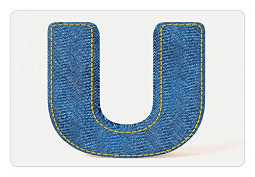 Ambesonne Letter U Pet Mat for Food and Water by, Denim Letter Alphabet Design with Realistic Looking Fabric Texture Stitches Image, Rectangle Non-Slip Rubber Mat for Dogs and Cats, Blue Yellow (Texture Stitch)