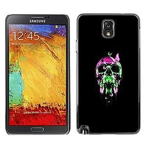 Caucho caso de Shell duro de la cubierta de accesorios de protección BY RAYDREAMMM - Samsung Note 3 N9000 - Neon pop del cráneo del cromo