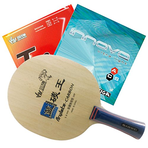 Table Tennis Racket Sanwei F3 FL Handle + Sanwei T88-I + Stiga Innova Ultra Light Rubber by Sanwei
