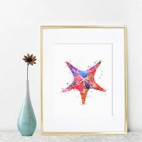 Amazon.com: Watercolor Starfish Art Print Ocean Wildlife Painting ...