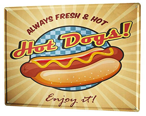 Tin Sign XXL metal plate plaque Retro Hot dogs
