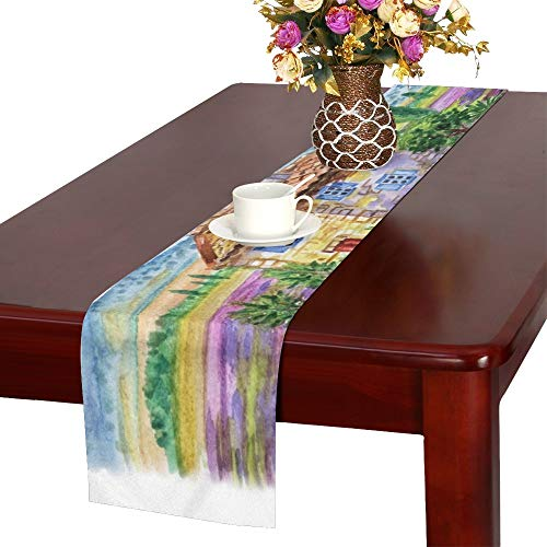 WHIOFE Landscape House Lavender Fields Against Backdrop Table Runner, Kitchen Dining Table Runner 16 X 72 Inch for Dinner Parties, Events, ()