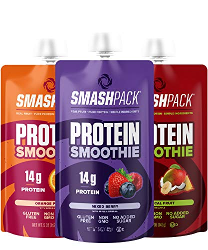 SmashPack Protein Fruit Smoothie Squeeze Pouch (Variety Pack) – 14g of Protein with MCT Oil, No Added Sugar, Gluten Free, Non-GMO – On-The-Go Energy Snack, 5 oz Each - 6 Pack