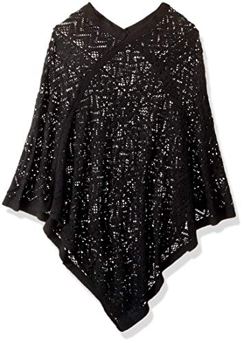 Britt's Knits Comfort Woven Poncho, Black, One Size by Britt's Knits