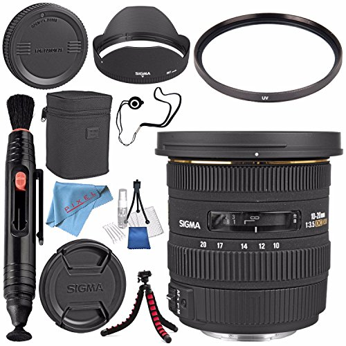 Sigma 10-20mm f/3.5 EX DC HSM Lens for Canon #202101 + 82mm UV Filter + Lens Pen Cleaner + Fibercloth + Lens Capkeeper + Deluxe Cleaning Kit + Flexible Tripod Bundle