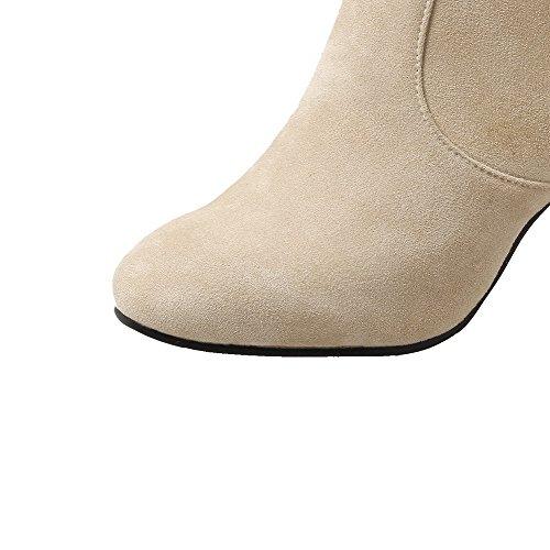 VogueZone009 Damen Reißverschluss Nubukleder Quadratisch Zehe Hoher Absatz Rein Stiefel, Cremefarben, 34