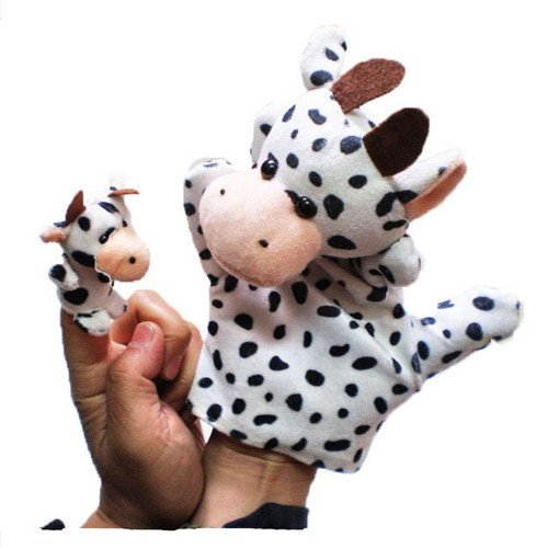 2Pcs (1 Big+1 Small) Lovely Kids Baby Plush Toys Finger Puppet Talking Props Animals Hand Puppets^milk cow.