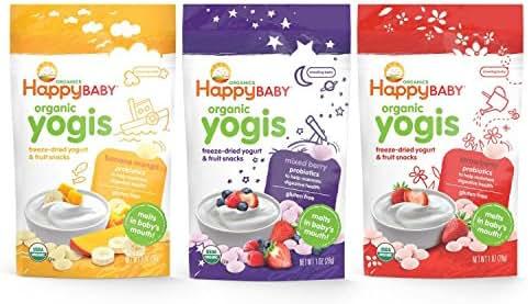 Happy Baby Organic Yogis Freeze-Dried Yogurt & Fruit Snacks, Variety Pack, 6 Count (2 of Each Flavor)