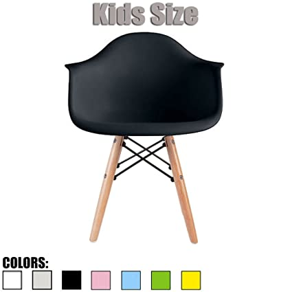 2xhome   Black   Kids Size Eames Armchair Eames Chair Black Seat Natural  Wood Wooden Legs