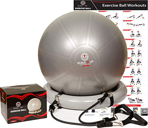 Scale It Up 65cm Exercise Ball Chair with 15LB Resistance Bands Set - Yoga Ball, Fitness Pilates Ball, Stability Ball with Base - Heavy Duty Anti-Slip and Anti-Burst Home Gym Bundle - Supports 600LBs (Best Anti Burst Stability Ball)