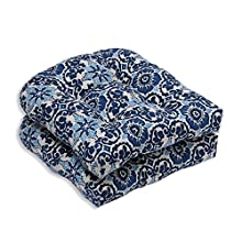 Pillow Perfect Outdoor/Indoor Woodblock Prism Wicker Seat Cushion (Set of 2), Blue