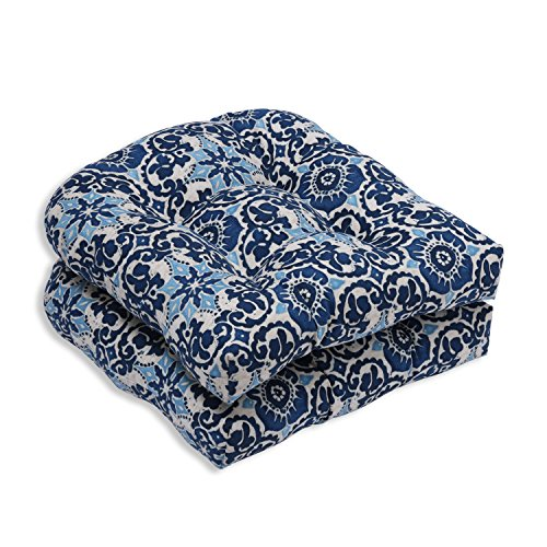 Pillow Perfect Outdoor/Indoor Woodblock Prism Wicker Seat Cushion (Set of 2), Blue (Wicker And Wood Furniture)