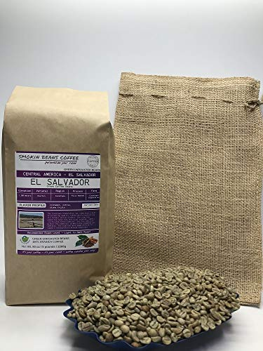 5 Pounds - Northern Central America - El Salvador - Unroasted Arabica Green Coffee Beans - Grown Region Cuzachapa - Altitude 1200 Meters - Drying/Milling Process Is Fully Washed - Includes Burlap Bag