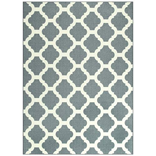 Maples Rugs Area Rugs - Eliza 7 x 10 Non Slip Large Area Rugs [Made in USA] for Living Room, Bedroom, and Dining Room, Grey