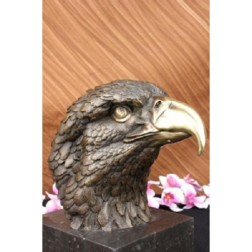 - Handmade European Bronze Sculpture Eagle Hawk Falcon Osprey Garden Park Zoo Marble Base Figurine Lrge Bronze Statue -JPYRD-070-3-Decor Collectible G