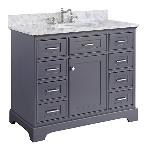 Aria 42-inch Bathroom Vanity (Carrara/Charcoal Gray): Includes a Charcoal Gray Cabinet with Soft Close Drawers, Authentic Italian Carrara Marble Countertop, and White Ceramic (Ronbow Stone Counter)
