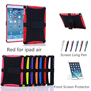 XYUN 2-pieces Heavy Duty Silicone Combo Stand Durable Hard Case Cover for Apple Ipad Air Ipad 5 with Screen Protector and Stylus (Red)