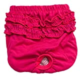 HCFKJ Washed Cute Pet Dog Nappies Panty Underwear In Season Sanitary Pants For Dogs Girl Female (XS, Hot Pink)