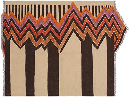 Arshs Kilim Bud Beige/Brown Hand-Woven Wool Rug -4'0 x 6'2 Buds Wool Pile Rug