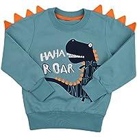 Popshion Toddler Boys Long Sleeve T-Shirts Dinosaur Elephant Sweatshirts Pullover Cartoon Tee Sport Tops for Kids 1-8 Years