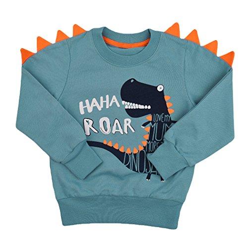 Popshion Toddler Boys Long Sleeve T-Shirts Dinosaur Elephant Sweatshirts Pullover Cartoon Tee Sport Tops for Kids 1-8 ()