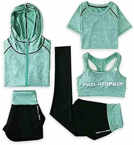 323c76fa141c 5Pcs Set Women Running Set Sports Yoga Suit Leggings Shirts Shorts Vest Bra  Jackets Hood Tights
