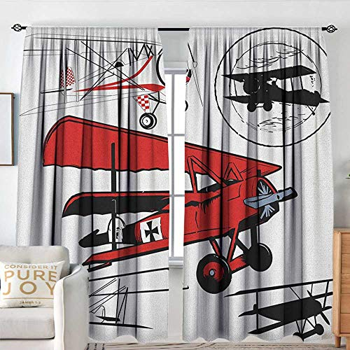 Vintage Airplane Indoor/Outdoor Single Panel Print Window Curtain Collection of Various Biplanes Nostalgic Antique Silhouettes Print Blackout Draperies for Bedroom W 84