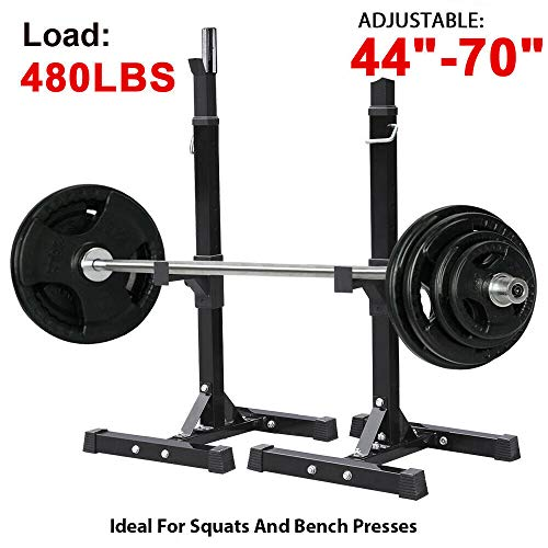 HighHoop 2pcs Adjustable 41″- 70.5″ Sturdy Steel Squat Rack Barbell Free Bench Press Stand Gym/Home Gym Portable Dumbbell Racks Stand Max 480lbs