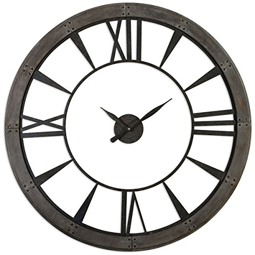 f8cd1aea432d Amazon.com: Uttermost 06084 Ronan Wall Clock, Large, Gray: Home ...