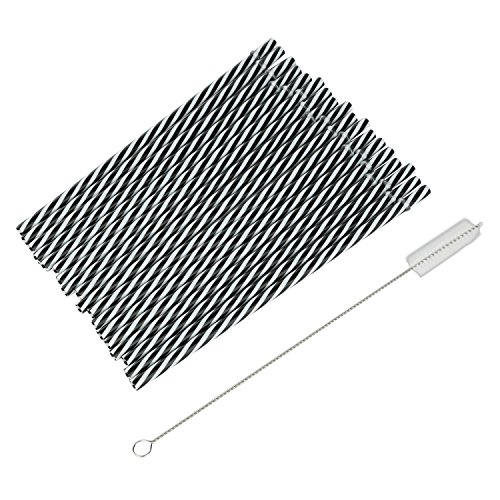 Amazing Set Of 18 Plastic Straws + Cleaning Brush For Tumblers And Mason Jar Glasses (Black And White)