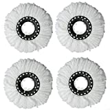Mop Replacement Head, 4 Pack Microfiber 360 Spin Mop Refill Head Replacements - White