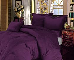 "Chezmoi Collection 7 Pieces Solid Lavender Purple Micro Suede Comforter 90""x92"" bed-in-a-bag Set Queen Size Bed by Chezmoi Collection"