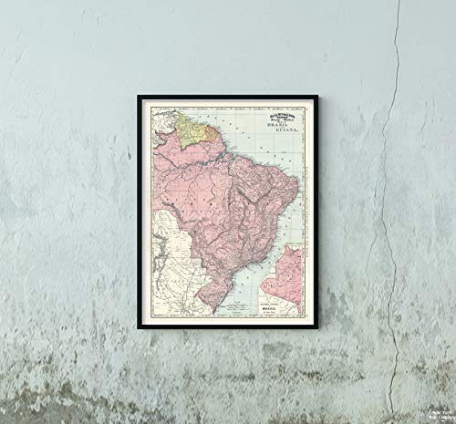 (1892 Rand McNally of Brazil and Guiana Map|Historic Antique Vintage Reprint|Size: 18x24|Ready to Frame )