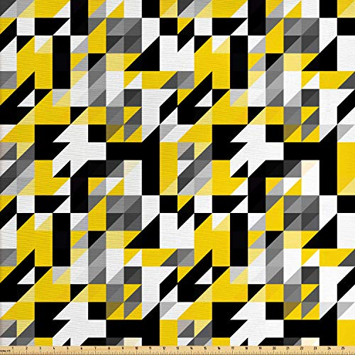- Ambesonne Yellow and White Fabric by The Yard, Geometric Design with Triangles Squares and Houndstooh Inspiration, Decorative Fabric for Upholstery and Home Accents, 1 Yard, Yellow Grey Black