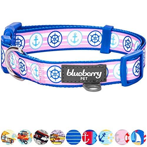 Blueberry Pet 9 Patterns Versatile Bon Voyage Nautical Navy Sailor Designer Dog Collar, Medium, Neck 14.5
