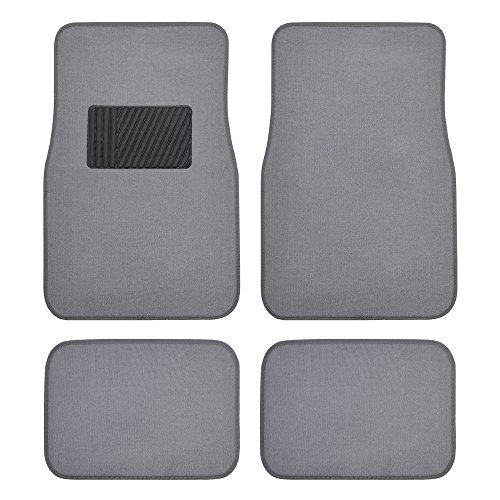 BDK Classic Carpet Floor Mats for Car & Auto - Universal Fit -Front & Rear with  Heelpad (Light Gray) - ()