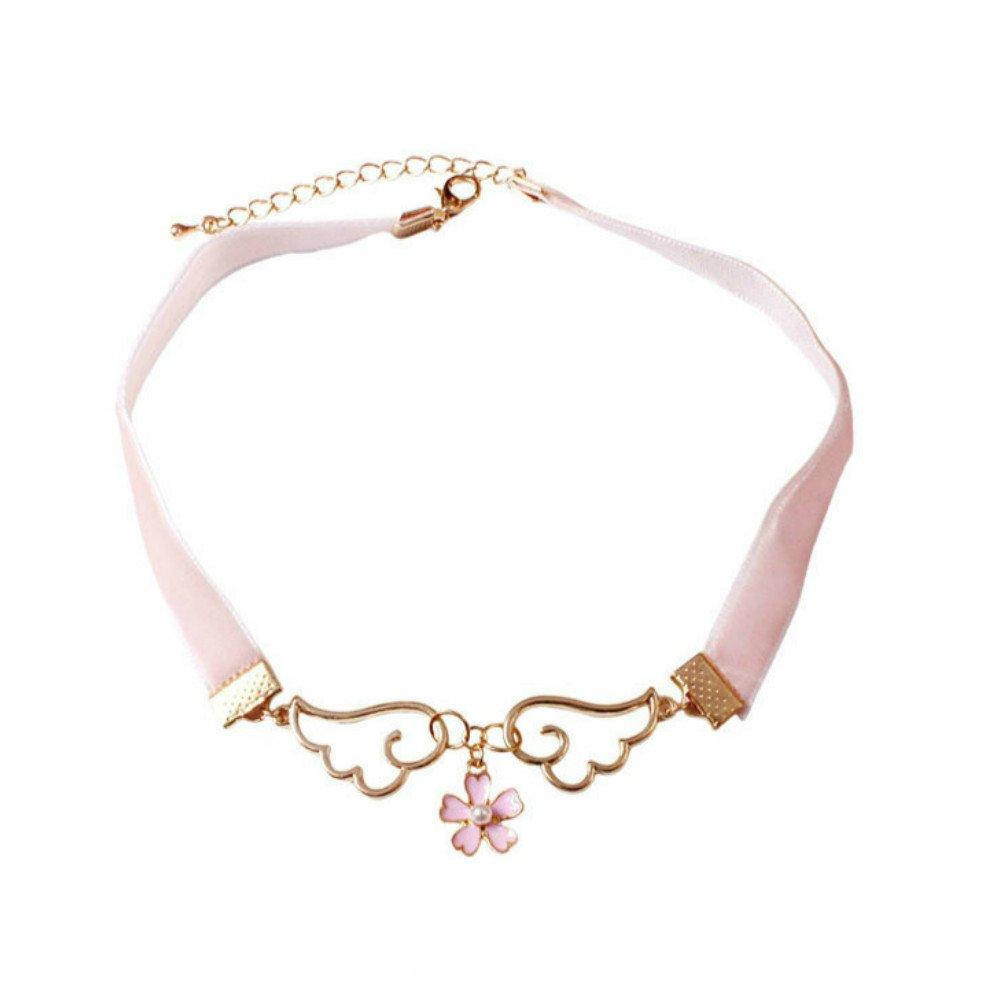 Acccity Card Captor Sakura Angel Wings Pink Velvet Choker (Pink)
