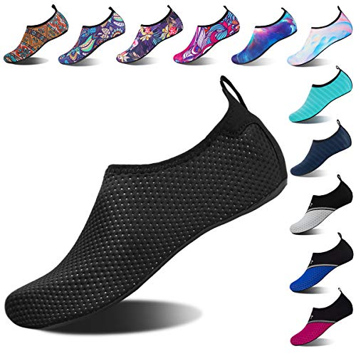 Water Shoes for Womens and Mens Summer Barefoot Shoes Quick Dry Aqua Socks for Beach Swim Yoga Exercise (Black Spots, 42/43)