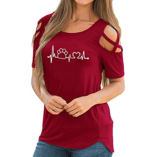 - Sunmoot Clearance Sale 2019 Women's Sexy Cold Shoulder Print Strappy Short Sleeve Long Sleeve T-Shirt Summer Casual Loose Off Shoulder Elegant Blouse Tunic Tops D-red