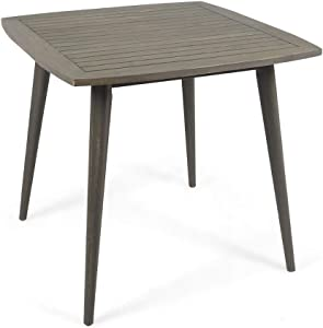 Christopher Knight Home Caleb Indoor Square Acacia Wood Dining Table, Gray, Finish