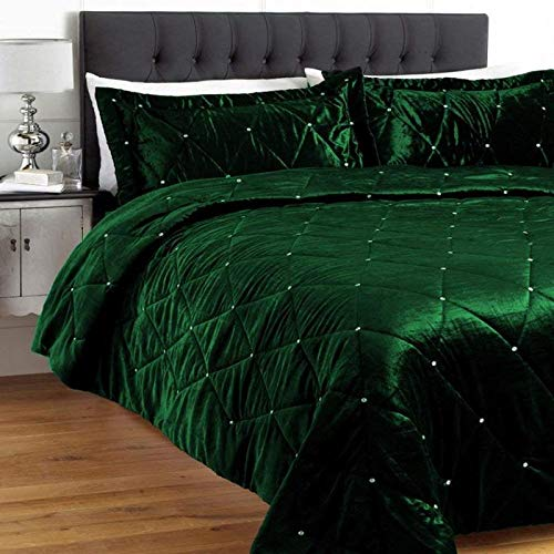 - king_stoe01 5 Pc Diamante Luxurious Velvet Crystal Embellished Bedspread/Coverlet Set with Pillow Covers Throw Bedding Crystal Work Xmas Halloween Wedding Home Décor Hotel Quality, Full/Queen, Green