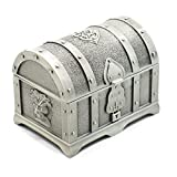 Buorsa Rectangle Vintage Metal Treasure Chest Trinket Jewelry Box Gift Box Ring Case for Girls Ladies Women, Silver