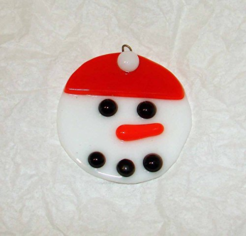 Snowman with a Red Stocking Cap Handmade Fused Glass Christmas Tree Ornament