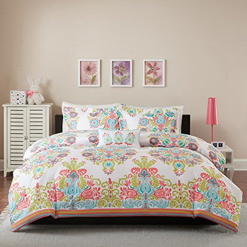 4 Piece Girls Rainbow Damask Theme Comforter Full Queen Set, Pretty Girly All Over Floral Boho Chic Bohemian Bedding, Fun Medallion Flower Motif Themed Pattern, Hot Pink Teal Blue Green Orange White (Teal Pink Pattern)
