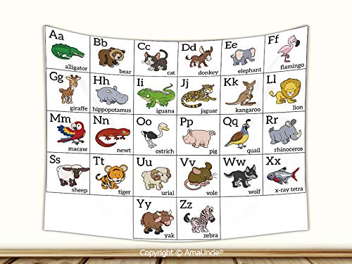 AmaUncle Personalized Tapestries Alphabet Learning Chart with Cartoon Animals Names Letters Upper and Lowercase Decorative Wall Art,91Wx60L Inch,Throw Tapestry for Bedroom Living Room