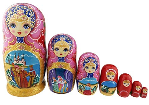 Winterworm Beautiful Pink and Gold Little Girl and Fairy Tale Pattern Handmade Wooden Traditional Russian Nesting Dolls Matryoshka Dolls Set 7 Pieces for Kids Toy Birthday Home Decoration