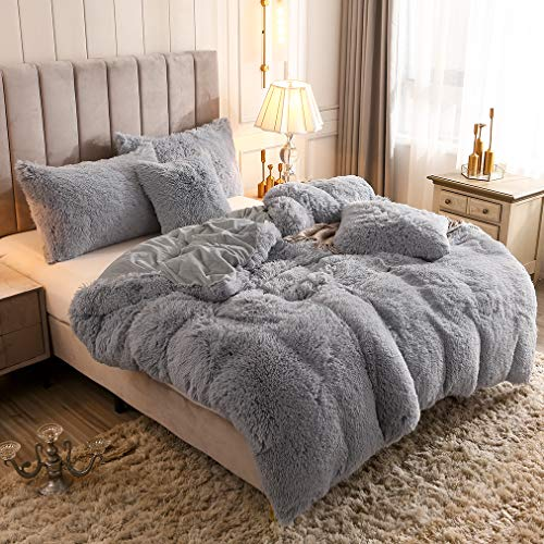 Uhamho Solid Fluffy 1PC Faux Fur Plush Duvet Cover Shaggy Velvet Bedspread Zipper Closure